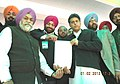 Manish Tewari presented a cheque of Rs. 10 Lac to the Grewal Sports Association, during the Kila Raipur Rural Sports festival, in District Ludhiana on February 01, 2013.jpg