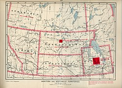 A 1900 map showing the District of Saskatchewan at its greatest extent