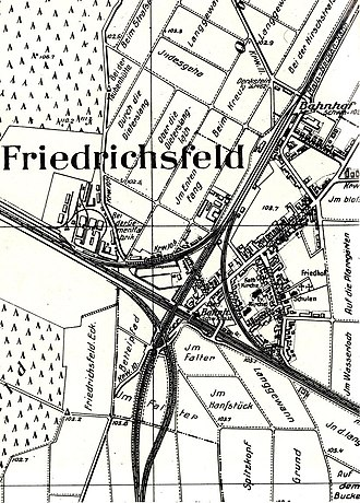 Main-Neckar Railway - Friedrichsfeld junction in 1900