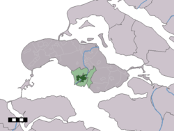 The town centre (dark green) and the statistical district (light green) of Zierikzee in the municipality of Schouwen-Duiveland.