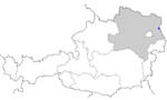 Map of Austria, position of Angern an der March highlighted