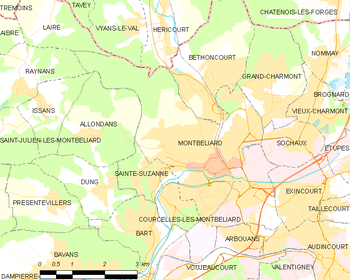 Map of the commune of Montbéliard