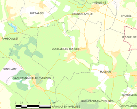 Mapa obce La Celle-les-Bordes