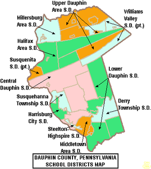 Map of Dauphin County Pennsylvania School Districts.png