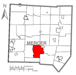 Location of East Lackawannock Township in Mercer County
