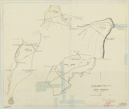 A hand-drawn map depicting Ford Island with three sections drawn in a larger scale. Clear tape covers parts of the map.