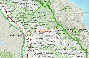 Khammouane Province - Image: Map of Khammouane Province, Laos
