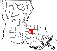 Map of Louisiana highlighting East Baton Rouge Parish