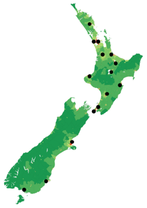 Pacific Media Network - This map shows the distribution of Pacific Media Network frequencies relative to population density.
