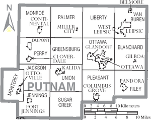 Putnam County, Ohio - Map of Putnam County, Ohio with municipal and township labels