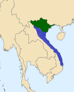 The Mạc (in green) still control northeast Vietnam and Later Lê dynasty reclaim the rest of territory after 1592