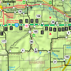 KDOT map of Wabaunsee County (legend)