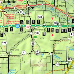 Wabaunsee County, Kansas - Image: Map of Wabaunsee Co, Ks, USA