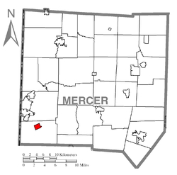 Location of West Middlesex in Mercer County