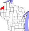 State map highlighting Burnett County