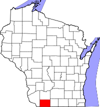 Map of Wisconsin highlighting Lafayette County