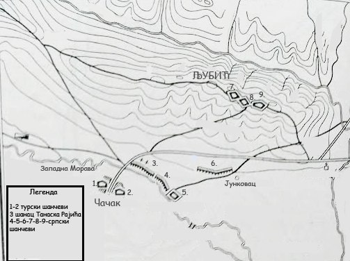 Map of battle of Ljubic 1815