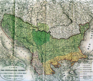 """First Balkan Alliance - Map  by Adolphe Thiers published during 1862 in Paris called: """"Map of the Serb population of Turkish Europe and of Southern Austria with the borders of the Serbian Empire of Dushan the Great (XIV. century)"""". The map shows in fact the extent of the South Slavs at that time."""