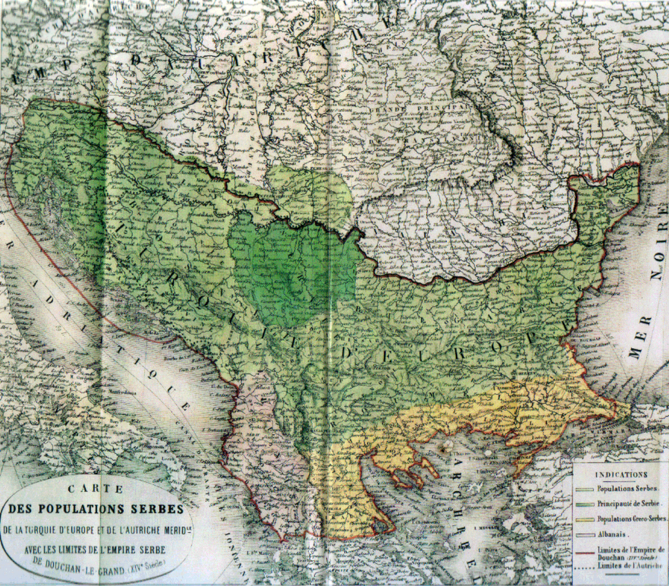 Map of the Serb population, 1862, H. Thiers