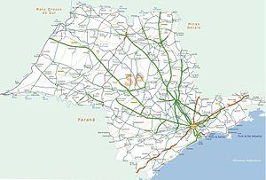 Mapa rodoviário do estado de São Paulo.