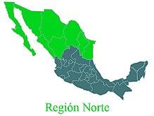 Mapa de la republica mexicana mostrando los estados de la zona norte.