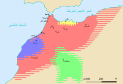 The Emirate of Nekor (yellow) at the time of the Idrisid dynasty.