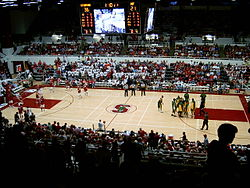 A game between the Stanford Cardinal and USF Dons in November 2005 at Maples Pavilion