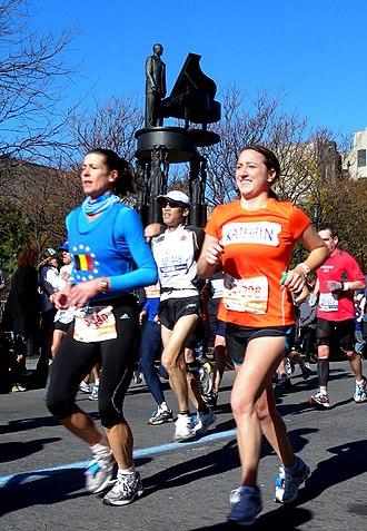 Duke Ellington Circle - 2010 New York City Marathon runners pass through the circle