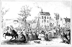 An illustration of marchers passing by cheering crowds