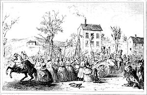 Women's March on Versailles - The women hailed by onlookers on their way to Versailles (illustration c. 1842)