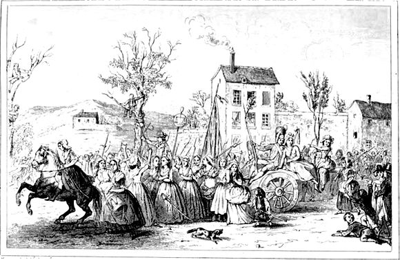 The women hailed by onlookers on their way to Versailles (illustration c. 1842) MarchWomenVersailles5-6october1789.jpg