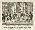 Margaretha van Beieren schenkt Amsterdam privilege, 1346 Margreta van Henegouwen schenkt Amstel-dam 't voor-recht van nimmer van de Graaflykheid gescheiden te worden (titel op object), RP-P-OB-78.217.jpg