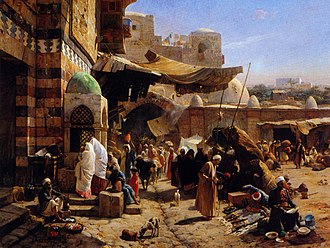 Jaffa - Market at Jaffa, by Gustav Bauernfeind, 1877