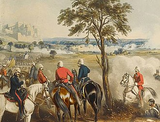 Battle of Gujrat - The Battle of Goojerat, on 21 February 1849, hand-coloured aquatint by J. Harris after Marten, image ., R. Ackermann, 1850