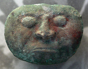 Vicús culture - Vicus copper mask with red paint; 500 BC-400 AD, Kloster Allerheiligen, Schaffhausen, Switzerland