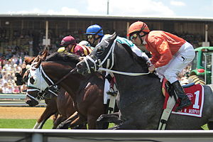 Ramón A. Domínguez - Domínguez (foreground) riding Master Dunker at 2011 James W. Murphy Stakes
