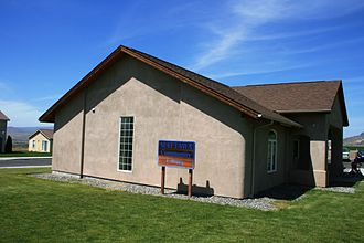 Straw-bale construction - Exterior view of straw bale library in Mattawa, Washington taken in 2008 (constructed 2002 by IronStraw Group)