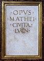 Matteo civitali, tempietto del volto santo, 1482-84, 03 firma.JPG