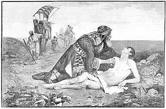 "Maurycy Trębacz - ""Good Samaritan"" (1886), book engraving from painting by Maurycy Trębacz, Warsaw"