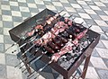 Meat and eggplants on the mangal in Azerbaijan.jpg