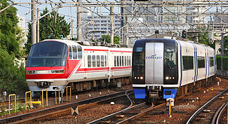 """Meitetsu - Meitetsu 1000 series """"Panorama Super"""" (left) and 2000 series """"Airport Train μ-Sky"""" (right)"""