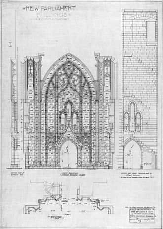 Peace Tower - John Pearson's drawings for the new Centre Block of Parliament Hill, showing a section through the Memorial Chamber with elevation of the north wall and the staircase that rises behind it