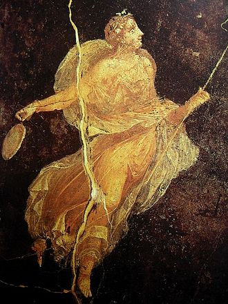 Roman commerce - A Roman fresco from Pompeii, 1st century AD, depicting a Maenad in silk dress, Naples National Archaeological Museum; silks came from the Han dynasty of China along the Silk Road, a valuable trade commodity in the Roman world, whereas Roman glasswares made their way to Han China via land and sea.
