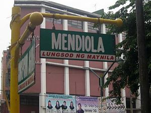 Mendiola Street - A street sign at the north side of Mendiola corner Concepcion Aguila Streets.