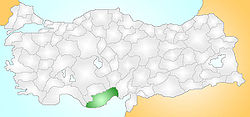 Location of Bozyazı within Turkey.