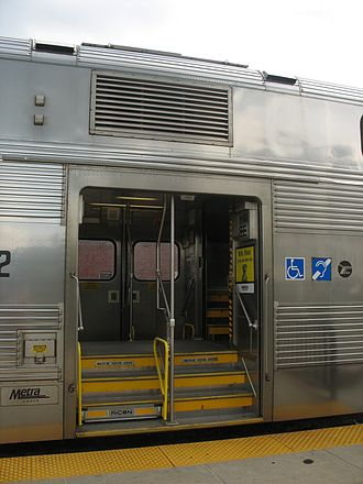 Metra - Entrance to a Metra bilevel rail car.