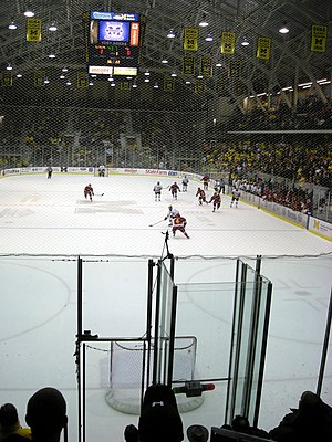 Empty net goal - The Michigan Wolverines attempt an empty net goal against the Ferris State Bulldogs.
