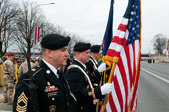 Michigan National Guard - Members of the Michigan National Guard during the Latvia Day parade in Riga, Latvia, 18 November 2014