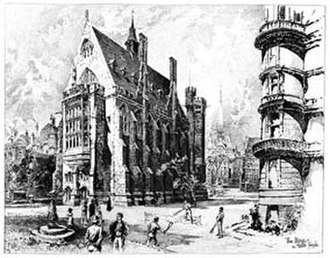 Middle Temple - Middle Temple Library, 1892, by Herbert Railton