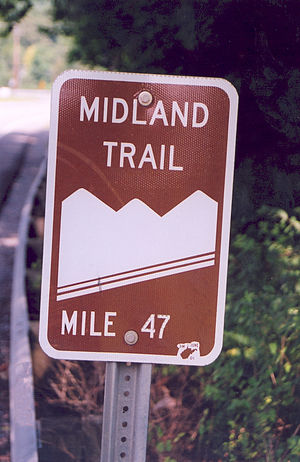 Midland Trail (West Virginia) - A sign for Midland Trail marks the path in Ansted, West Virginia.Photo by Angel Crane